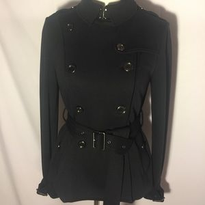 Rare Iconic Black Cotton Knit Burberry Brit Trench